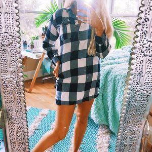 Flannel Black + White Checkered Dress